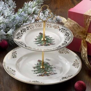 新品 Spode クリスマスツリー 2ティアケーキスタンド