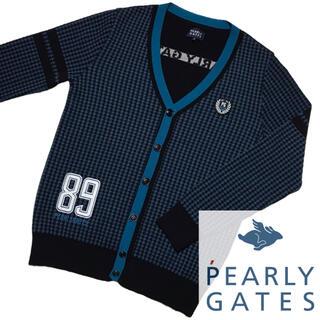 PEARLY GATES - 新古品 PEARLYGATES 千鳥格子 柄 カーディガン ウール ニット 刺繍