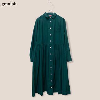 Graniph - 【graniph】シャツワンピース グリーン グラニフ