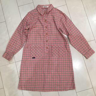 familiar - familiar 140 ネルシャツ風 チェック柄 ワンピース ファミリア