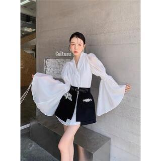ビーズスカートと長袖シャツ セット