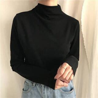 黒いサーマルTシャツ  ハイネック