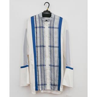 mame - mame kurogouchi 19aw フローラルストライプジャガードシャツ