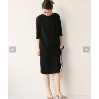 DEUXIEME CLASSE - 美品☆ドゥーズィエムクラス トリアセジョーゼット 七分袖ワンピース ブラック 黒