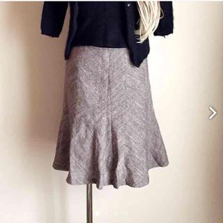 ハニーズ(HONEYS)のGLACIERツイード風ブラウンスカート(ひざ丈スカート)