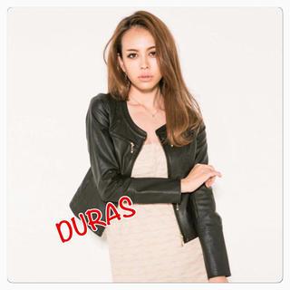 デュラス(DURAS)のDURAS フェイク レザー ライダース ブルゾン ジャケット レディース(ライダースジャケット)