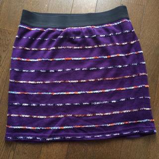 ヘザー(heather)のheatherマルチカラーボーダーニットスカート(ミニスカート)
