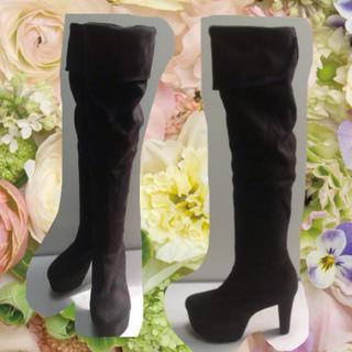 ニーハイブーツ 黒 25.5cm(ブーツ)