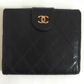 シャネル(CHANEL)の【正規品】CHANEL キャビアスキンWホック財布 ビコローレ 黒 シャネル(財布)