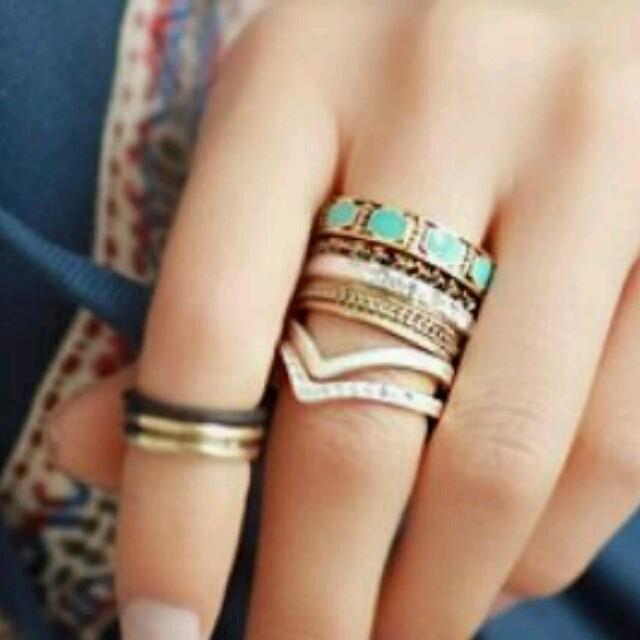 エスニックブルー ファランジリングセット レディースのアクセサリー(リング(指輪))の商品写真