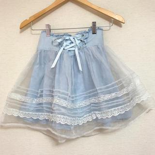 リズリサ(LIZ LISA)の売り切りセール!薄色デニム♡オーガンジーSK(ひざ丈スカート)