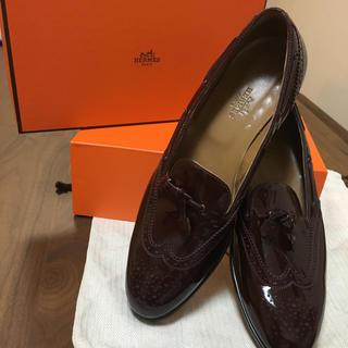エルメス(Hermes)のレア!エルメス本物 ローファー!革靴チョコブラウン(ローファー/革靴)