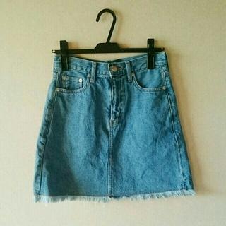 ローリーズファーム(LOWRYS FARM)のフリンジデニム台形スカート(ミニスカート)