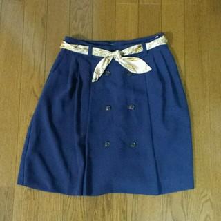 プーラフリーム(pour la frime)のスカーフ柄ベルト付きスカート(ひざ丈スカート)