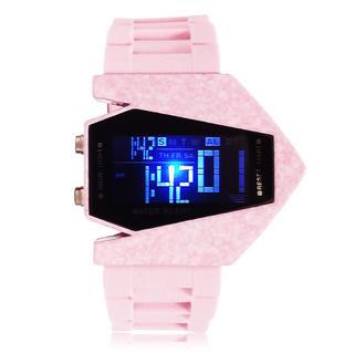 7色に光る LEDデジタル腕時計 メンズ レディース Watch【ピンク】(腕時計(デジタル))