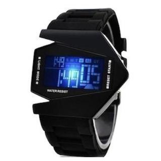 7色に光る LEDデジタル腕時計 メンズ レディース Watch【黒】(腕時計(デジタル))