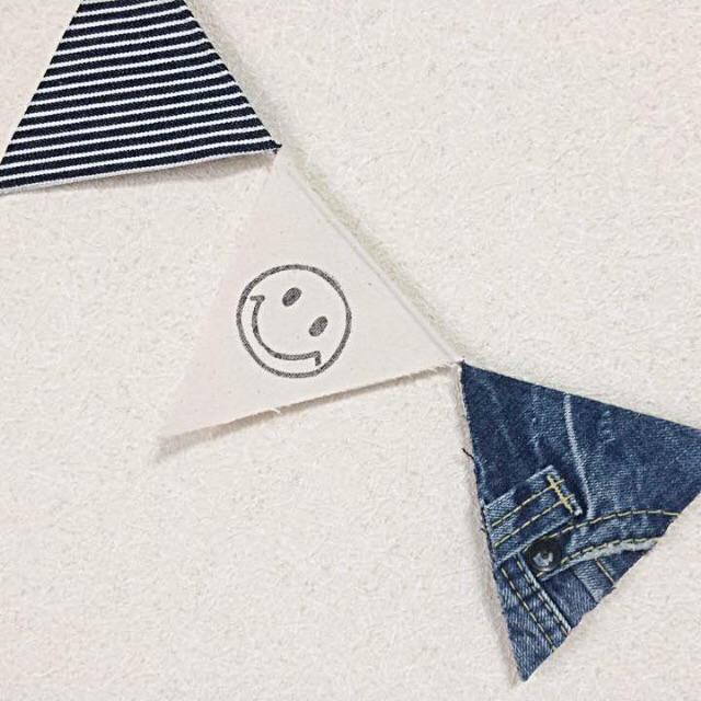 デニム×スマイルガーランド(Lサイズ) ハンドメイドのインテリア/家具(インテリア雑貨)の商品写真
