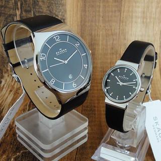 スカーゲン(SKAGEN)の【ペア腕時計】スカーゲン レディース メンズ シンプル 柔らかブラックレザー(腕時計)