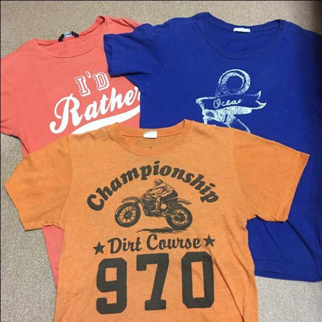 GU(ジーユー)の160size Tシャツ 3枚セット キッズ/ベビー/マタニティのキッズ服 男の子用(90cm~)(Tシャツ/カットソー)の商品写真