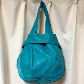 パピヨネ(PAPILLONNER)のパピヨネ 本皮bag ターコイズ(ハンドバッグ)