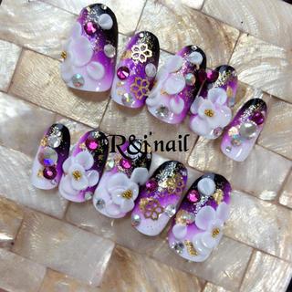 和風 紫黒グラデ 3Dお花 メタル桜 ネイル