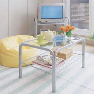 おしゃれ デザイン ガラステーブル シルバー SIG-603(ローテーブル)