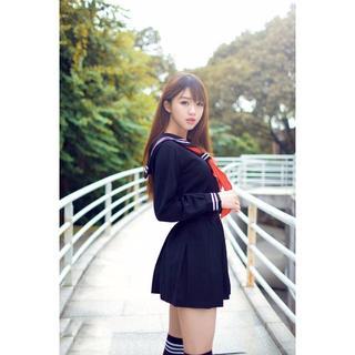 高品質 セーラー服 長袖 黒 制服 コスプレ コスチューム 衣装(衣装)