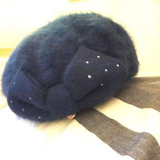 フルラ(Furla)の新品FURLA夜空アンゴラリボンベレー帽(ハンチング/ベレー帽)