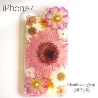 【完成品】iPhone7♡ピンクガーベラ♡押し花ケース(スマホケース)