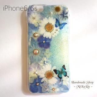 【完成品】iPhone6/6s♡ブルーアジサイ♡押し花ケース(スマホケース)