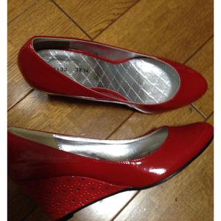 25cm 赤 ウェッジソール パンプス(ハイヒール/パンプス)
