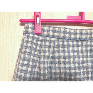 ロキエ(Lochie)の水色とグレーのチェックスカート(古着)(ひざ丈スカート)