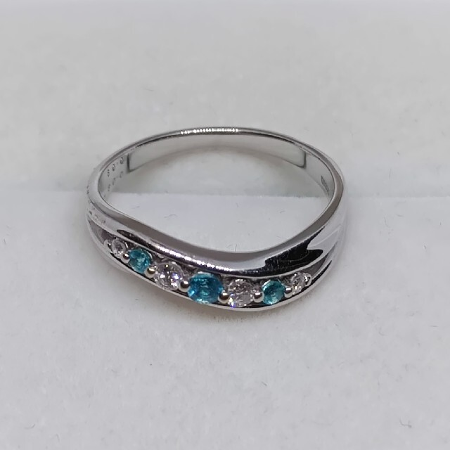 K18WG パライバトルマリン、ダイヤモンドリング レディースのアクセサリー(リング(指輪))の商品写真