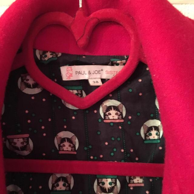 PAUL & JOE SISTER(ポール&ジョーシスター)のポール&ジョーPAUL&JOESISTER赤 コート 中川翔子 猫 ネコ裏地 レディースのジャケット/アウター(ピーコート)の商品写真