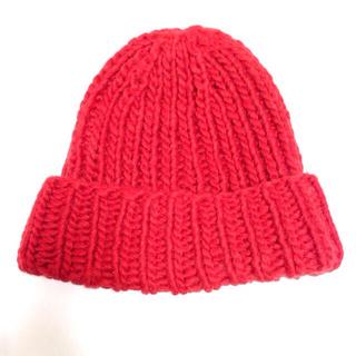 マウジー(moussy)のmoussy ニット帽 赤(ニット帽/ビーニー)