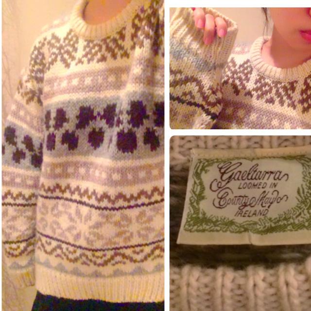 ヴィンテージ♡ニット 白 グレー ゆるダボ メンズのトップス(ニット/セーター)の商品写真