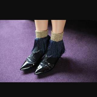 アッシュペーフランス(H.P.FRANCE)のyukam様専用 あちゃちゅむ フリンジ靴下 黒、ネイビー(ソックス)