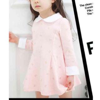100サイズ リボン柄女の子長袖フォーマルワンピース ドレス 襟付きシンプル(ワンピース)