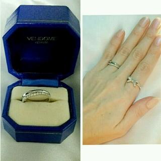 ヴァンドームアオヤマ(Vendome Aoyama)のヴァンドーム 青山 ダイヤ 18金 指輪 wg 正規品 本物 宝石 ホワイト(リング(指輪))