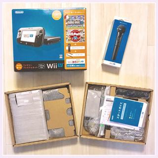 ニンテンドウ(任天堂)のマイク+WiiUファミリープレミアムセット(クロ) 32GB  送込 ほぼ新品(家庭用ゲーム本体)