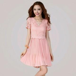 新品 半袖ドレスワンピース ピンクオレンジ LL 13 大きいサイズ フォーマル(ひざ丈ワンピース)