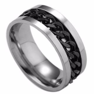 【送料無料】【22号】喜平チェーンチタンリング ブラック 指輪(リング(指輪))
