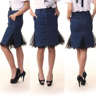 ルシェルブルー(LE CIEL BLEU)のcnk様 専用 新品未使用 チュール付きデニムスカート(ひざ丈スカート)