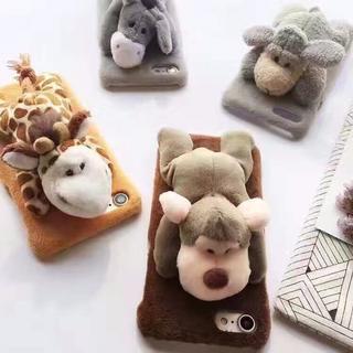 iphone7 ケース ふわふわ モコモコ ぬいぐるみ 2種(iPhoneケース)