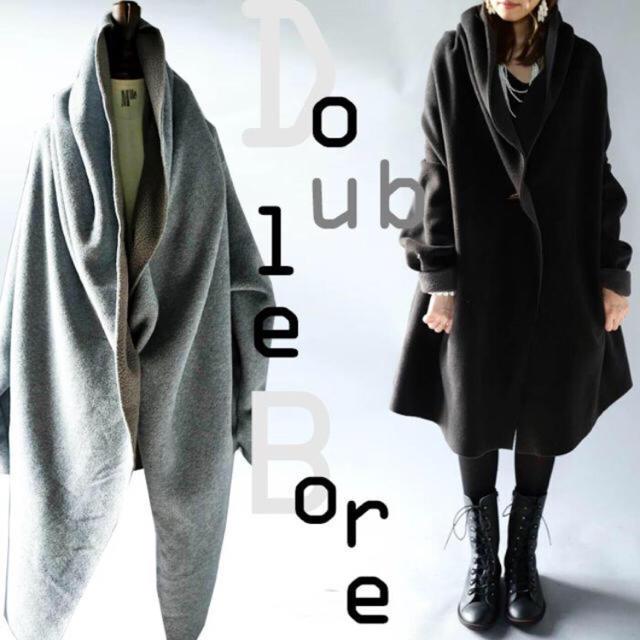 antiqua(アンティカ)の13日までお取置き中。アンティカ ビックボアコート ブラック レディースのジャケット/アウター(ロングコート)の商品写真