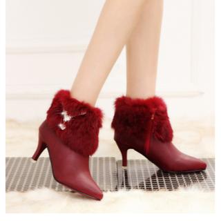 (新品未使用)女性かわいいハイヒール厚手ファーブーツ(ローファー/革靴)