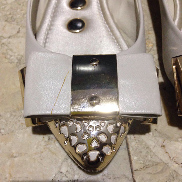 リボンぺたんこパンプス レディースの靴/シューズ(ハイヒール/パンプス)の商品写真