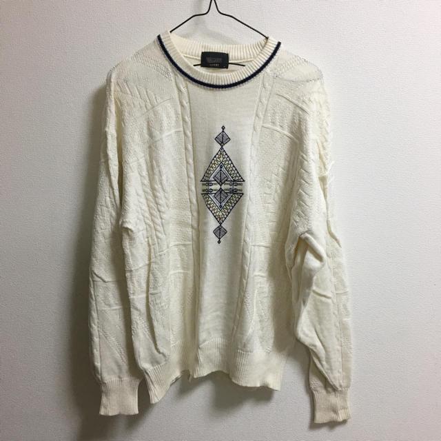 白 ニット 古着 メンズのトップス(ニット/セーター)の商品写真