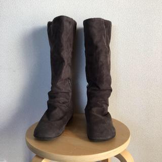 ムジルシリョウヒン(MUJI (無印良品))の無印良品 足なりブーツ 起毛チャコール(ブーツ)