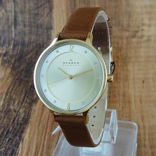 スカーゲン(SKAGEN)の新品 SKAGEN 腕時計 レディース SKW2147 ブラウンレザー 30mm(腕時計)